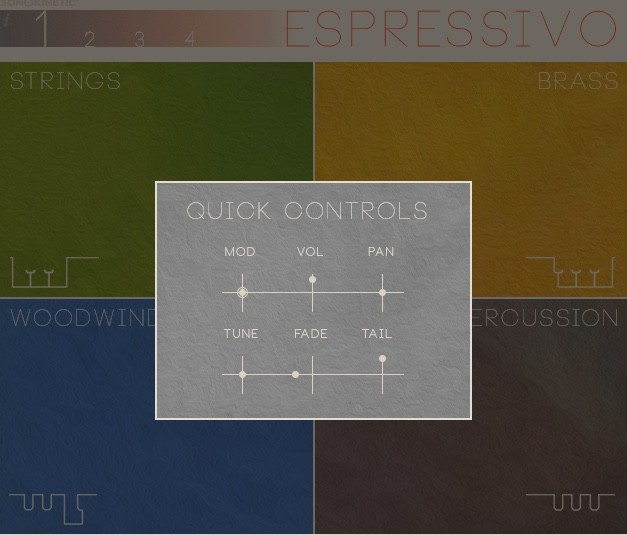 quick controls of Sonokinetic Espressivo