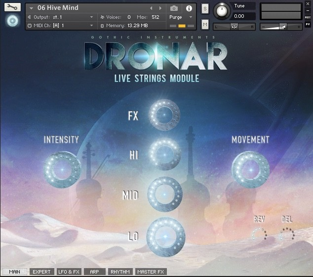 main interface of gothic instruments dronar live strings