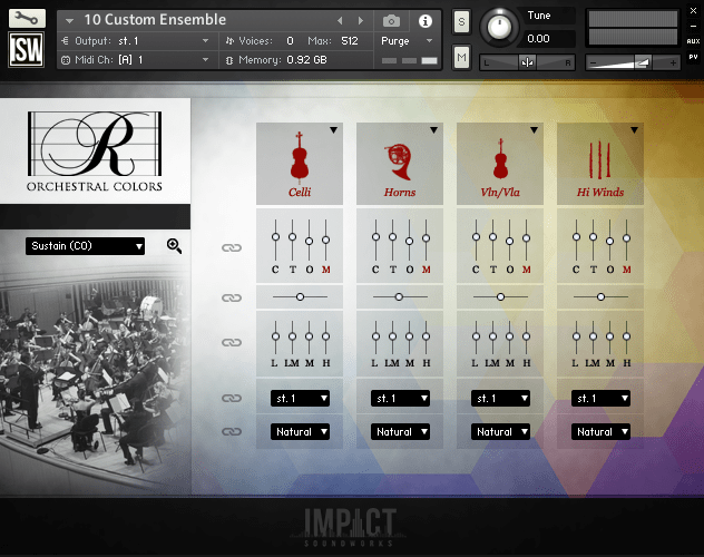 impact soundworks rhapsody orchestral colors interface