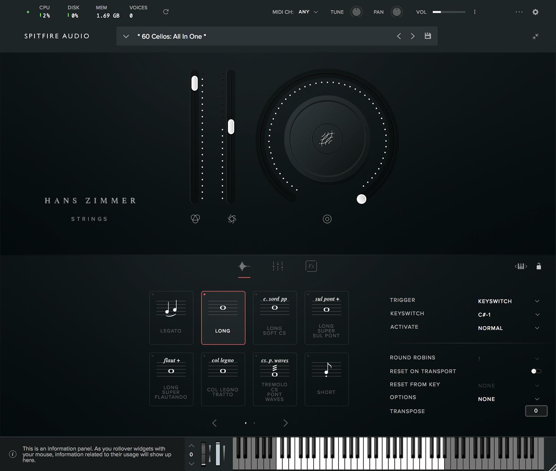 spitfire audio hans zimmer strings interface articulations