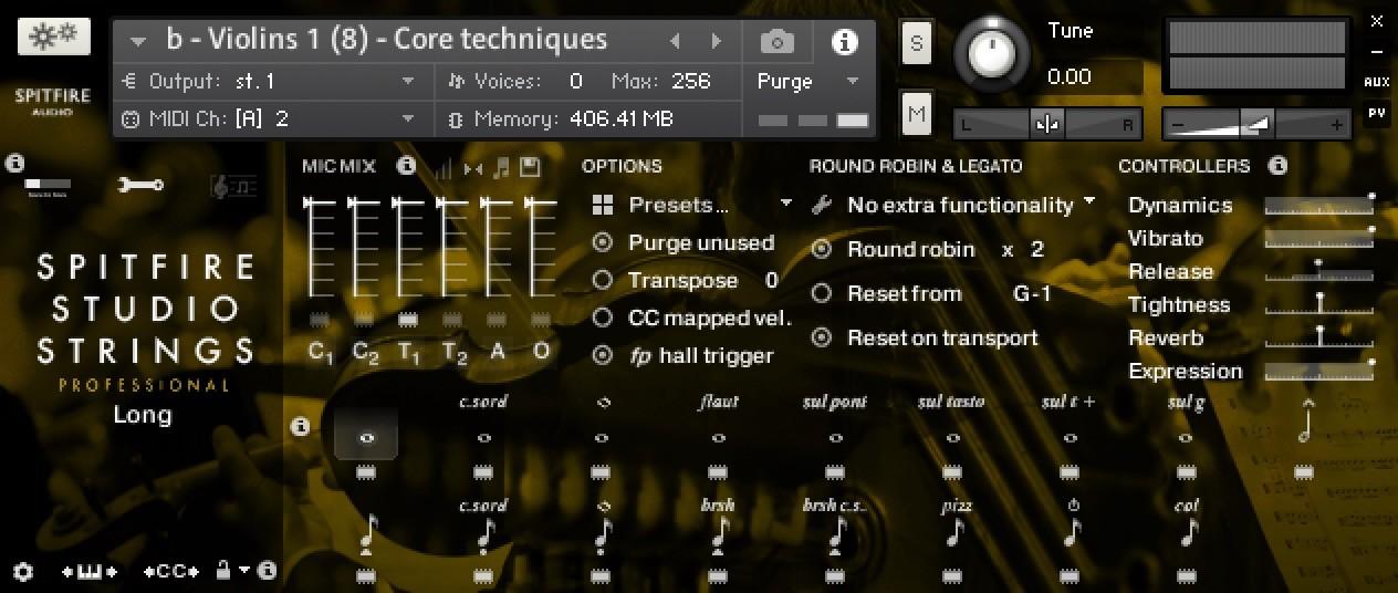 spitfire studio strings general controls panel